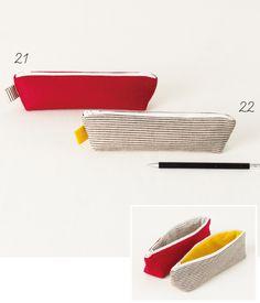 中袋と同じ布でタブをつけた、 色使いが楽しいシンプルなペンケース。 男性も使いやすいデザインです。 基本的な作り方はポーチと同じなので、大きさを変えてチャレンジ! 表と違う布地を中に使うと、開けた瞬間が楽しい!