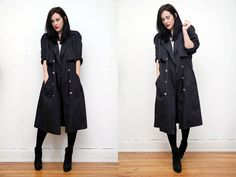 Vintage Navy Trench Mac Princess Dress Swing Duster Coat on Etsy, $65.75