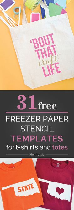 Freezer paper is so cheap and you can make custom t-shirts, totes, towels, blankets, onesies, pillows...the list goes on! These are our fave FREE templates.