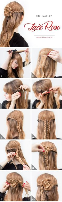 Coole und einfache DIY Frisuren – The Half Up Lace Rose – Schnelle und einfache Ideen für Cool and Easy DIY Hairstyles – The Half Up Lace Rose – Quick and Easy Ideas for Back to School Styles for Medium, Short and Long Hair – Fun Tips and Best Step by Ste Cool Easy Hairstyles, Step By Step Hairstyles, Up Hairstyles, Wedding Hairstyles, Gorgeous Hairstyles, Elegant Hairstyles, Curly Haircuts, Formal Hairstyles, Easy Hairstyles For Medium Hair For School