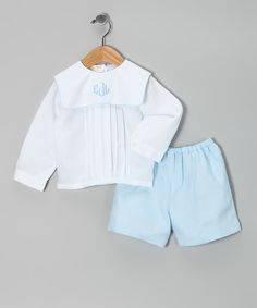 White Pin Tuck Monogram Top & Blue Shorts - Infant & Toddler by Monogrammables by Rosalina #zulily #zulilyfinds