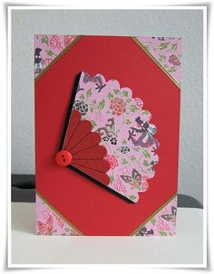 Oriental Fan Card / Cards by Paula Unique Cards, Creative Cards, Scrapbook Paper Crafts, Scrapbooking, Screen Cards, Chinese New Year Card, Asian Cards, Spinner Card, Get Well Cards