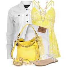 """River Island Yellow Slouch Bag"" by brendariley-1 on Polyvore"
