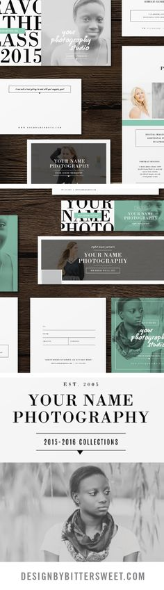 Senior Photography Marketing templates. Professional photographer branding materials. Pricing guides, graduation announcements, business cards, Facebook timelines, senior rep cards. *images courtesy of @ErinNeace