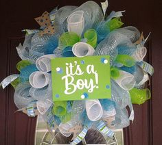 It's A Boy Deco mesh wreath by KellumsKreations on Etsy, $45.00