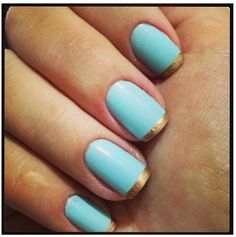 Mint nails gold French tips