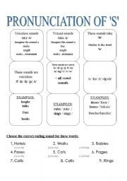 English worksheet: How to pronounce ´S´