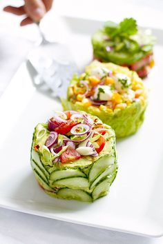 Make These Adorable Mini Salad Cakes for Your Next Potluck!-Take vegetables out of the salad bowl! Here's a trio of crisp and colorful salad cakes inspired by Japanese food stylist Mitsuki Moriyasu – They're just perfect for your next potluck buffet! Potluck Recipes, Appetizer Recipes, Salad Recipes, Cooking Recipes, Healthy Recipes, Soup Appetizers, Cucumber Recipes, Holiday Appetizers, Fun Recipes