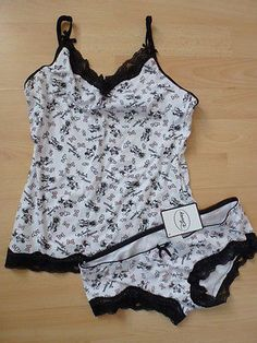 Primark Disney Ladies Top Cami and Knickers Set White Lace Detail