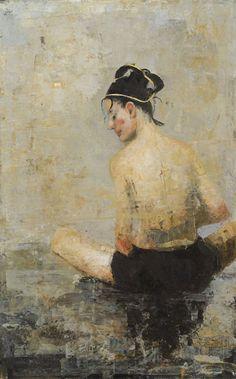 "Ġoxwa, Songe, 2014, Oil & Wax on Canvas, 51"" x 31½"" #Art #Axelle #Encaustic…"