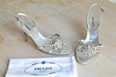 Prada Metallic Argento Jewel Embellished Sandals by LaDonnaPrive
