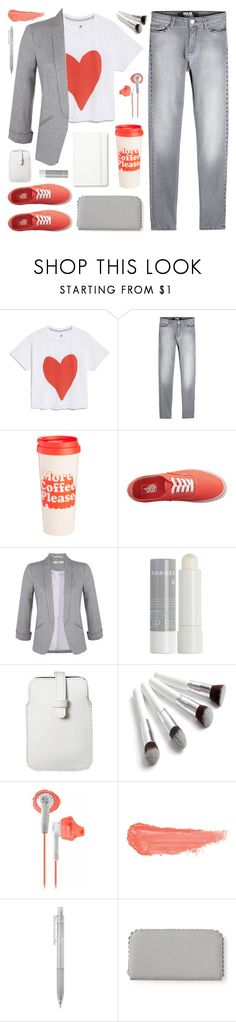 """""""Heart t-shirt"""" by deepwinter ❤ liked on Polyvore featuring Hanes, Karl Lagerfeld, ban.do, Vans, Miss Selfridge, Korres, Mossimo, By Terry, Aéropostale and Moleskine"""
