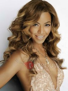 Custom Beyonce Hairstyle 100% Indian Remy Hair Wavy About 20 Inches Top Quality Lace Wig