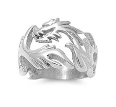 Stainless Steel Milled Dragon Fire Biker Ring Size 14 *** More info could be found at the image url. (This is an affiliate link) #Rings