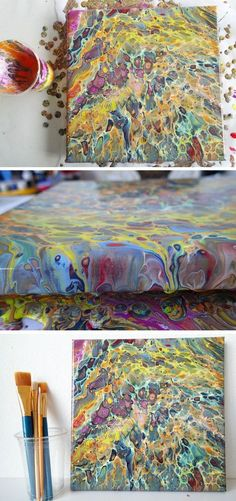 Acrylic pouring painting video with decoart paints