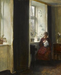 Young Girl Embroidering by the Window, Carl Vilhelm Holsøe