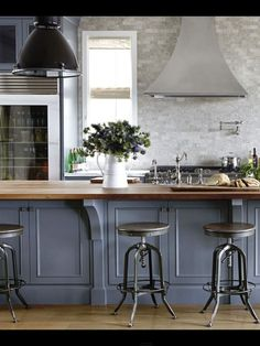 LOVE this kitchen!!!  Love the cabinet color, countertops, and white backsplash!!  Perfection!