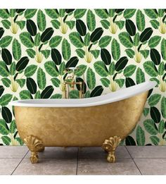 The bright rich leafy textured pattern on Bloom Jungle transports you to another place. Bold for your bathroom or even an accent wall in your living room. Shop the look with L&G! #LANDGATHOME