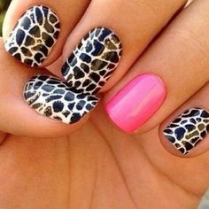 Nails #pink #black and white