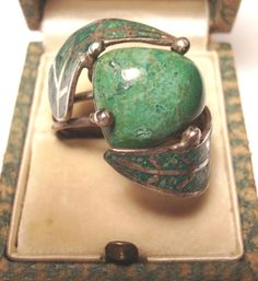 Vintage Sterling Big Green Turquoise and Inlay by artfuloldies, $52.00