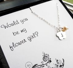 Flower girl gift, personalized necklace for flower girl or junior bridesmaid, Be my flower girl, necklace for little girl, Otis b jewelry Flower Girl Gifts, Flower Girl Dresses, Flower Girls, Our Wedding, Dream Wedding, Wedding 2015, Spring Wedding, Wedding Things, Wedding Stuff