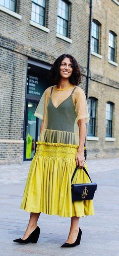 Yasmin Sewell in Nicholas Kirkwood shoes with a J.W.Anderson bag