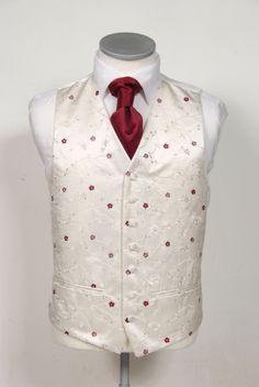 ivory & burgundy floral wedding waistcoat.  #wedding #groom #waistcoat