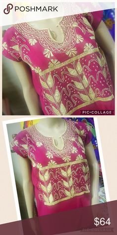 New Hand-Stitched Mexican Blouse Milpa Style One of a kind! New top hand stitched 100% by hand. Magenta color fabric and beige Milpa embroidery. Very short sleeves, v-neck with tassels. Size Small. Cielito Lindo  Tops Blouses