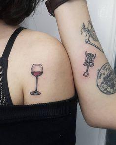 Wineglass&corkscrew #bfftattoo #bestfriend #tattoo #minimaltattoo #tinytattoo #winelover #winetattoo #corkscrew #wineglass #bff #bffgoals… Bff Tattoos, Best Friend Tattoos, Body Art Tattoos, Cool Tattoos, Awesome Tattoos, Tattoo Art, Tatoos, Wine Tattoo, Bff Goals