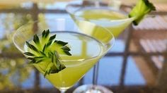 Here is a pretty a delicious recipe for a green cocktail with a fringed cucumber garnish. The video below will show you how to make the garnish. It's delicious and pleasing to look at, too. In an earlier blog post I showed a healthy green smoothie. Now it's time for an adult drink.