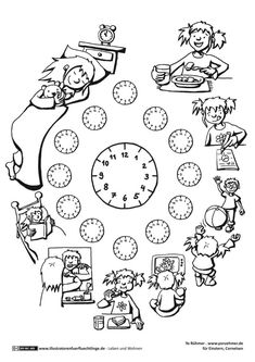 Leben und Wohnen - Tagesablauf Uhrzeit - Rühmer Primary Teaching, Teaching Time, Teaching French, Teaching English, Kindergarten Worksheets, Classroom Activities, Tracing Worksheets, Colegio Ideas, Creative Writing Ideas