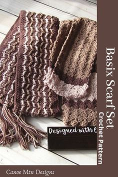 Basix Scarf Set Crochet Patterns. These are great patterns for using up some scrap yarn or creating colorful scarves for him or her. Unisex Scarf Patterns. Lots of texture but still easy to create. All patterns at Canoe Mtn Designs are tested by experienced crochet artisans for accuracy and readability. Crochet Scarves, Crochet Yarn, Crochet Stitches, Scarf Patterns, Knitting Patterns, Crochet Patterns, Pattern Design, Free Pattern, Colorful Scarves