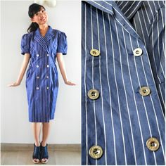 1980 Vintage Dress/ Militaires Sailor Dress/ M - heiressvintage - Sukienki midi
