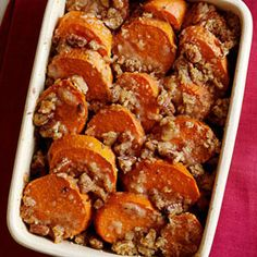 These traditional candied yams, which waft scents of butter, brown sugar, and cinnamon while baking, complete the Thanksgiving dinner menu.