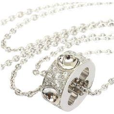 LOUIS VUITTON 18K White Gold Pave Diamond Empreinte Pendant Necklace