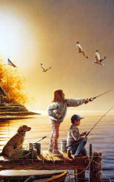 I must have this Terry Redlin, its so perfect for us, how have i never seen this one, this pic its only half of it.only wish it wasnt seagulls Deer Wallpaper, Terry Redlin, Sea To Shining Sea, Sea Art, Vintage Fishing, Country Art, Gone Fishing, Traditional Paintings, Art Pictures