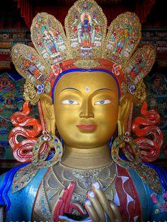 Thiksey monastery, Ladakh, India A two storeyed golden statue of Buddha is the main attraction of Thiksey monastery. Thiksey monastery is situated on top of a hill, very close to Leh. Maitreya Buddha, Gautama Buddha, Tibetan Buddhism, Buddhist Art, Tibetan Art, Buddha Buddhism, Buddha Temple, Rajasthan Inde, Ladakh India