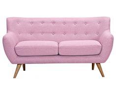 Canapé 2 places en tissu SERTI - Rose dragée avec boutons déco assortis 350€