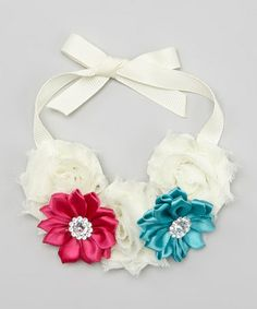 Love this Ivory & Turquoise Floral Bun Wrap by Lil Miss Sweet Pea on #zulily! #zulilyfinds
