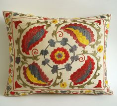 BIG SALE  / Vintage Hand Embroidered Silk Suzani Pillow Cover
