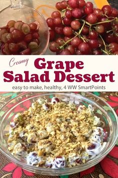 4 FS Light, creamy & refreshing, this sweet & delicious grape salad is sure to become a summer BBQ, potluck or picnic staple - only 4 Weight Watchers Freestyle SmartPoints! Skinny Recipes, Ww Recipes, Easy Healthy Recipes, Cooking Recipes, Copycat Recipes, Weight Watchers Salad, Weight Watchers Desserts, Vinaigrette, Dessert