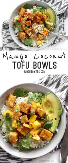 Mango Coconut Tofu Bowls with savory coconut rice and a tangy honey lime glaze. @budgetbytes