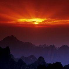Huangshan at Sunset, China