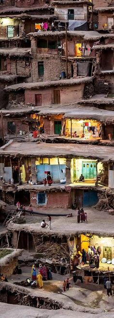 """""""The Wedding Night"""" - This is an evening image of the mountain village of Masuleh in Gilan province, Fuman county, Iran (ایران - گیلان - روستای ماسوله ), where houses are built into the mountain side, and pedestrian walkways and courtyards are built on the roofs of houses below. No vehicles are allowed.  Photo credit: Mohammadreza Momeni — in Masuleh, Gilan, Iran."""