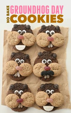 cool Celebrate Puxatawny Phil& prediction with your kids with these easy, no bake Groundhog Day Cookies Read More by Sprinkle Cookies, Mini Cookies, No Bake Cookies, Kinder Party Snacks, Snacks Für Party, Cute Food, Good Food, Groundhog Day Activities, Holiday Activities
