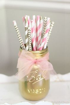 Pretty straw holder party decoration idea for a Princess Birthday Party