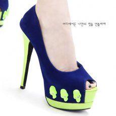 D73417 Kvoll Fashion Skull Rhinestone Platform Peep-toe Pump Blue [D73417] - $25.50 : China,Korean,Japan Fashion clothing wholesale and Dropship online-Be the most beautiful Lady