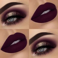 Gold Glitter Eyes and Matte Burgundy Lips