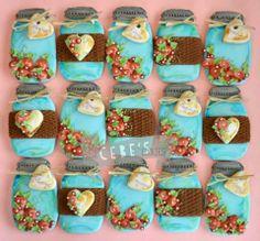 Adorable Mason Jars (Cookies by Missy Sue) Mason Jar Cookies, Iced Cookies, Cute Cookies, Easter Cookies, Cupcake Cookies, Mason Jars, Shabby Chic Cookies, Vintage Cookies, Wedding Shower Cookies