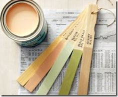 Painting tip - use the stir sticks to dip into paint, dry and save with paint brand, name and numbers on it for all your future color matching needs -- by Kristy Swain of Hyphen Interiors